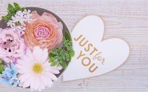 Picture flowers, Holiday, heart, Valentine's day