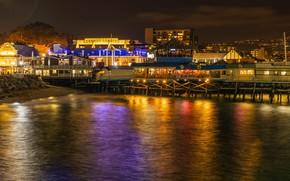 Picture sea, night, lights, coast, home, lights, CA, USA, Redondo Beach