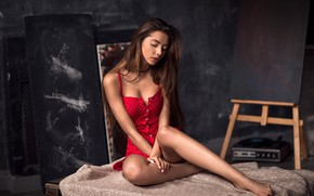 Picture sexy, pose, model, portrait, makeup, figure, dress, hairstyle, brown hair, beauty, sitting, in red, bokeh, ...