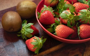 Picture summer, berries, table, food, kiwi, harvest, strawberry, red, bowl, fruit, composition, Victoria