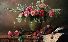 Picture flowers, branches, notes, pen, violin, roses, candle, vase, candle holder, ink, Andrey Morozov