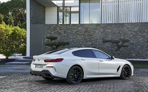 Picture white, coupe, BMW, Gran Coupe, 840i, 8-Series, 2019, the four-door coupe, Eight, G16, on the …