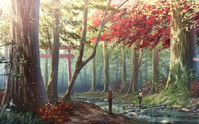 Picture stones, two, Sunny day, autumn forest, torii, forest stream, the guy with the girl