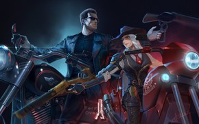 Picture Girl, Bike, Motorcycle, Blizzard, Art, Fiction, Terminator, Terminator, Game, Illustration, Ashe, Characters, Science Fiction, Overwatch, …