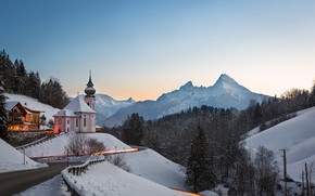 Picture winter, road, snow, mountains, Germany, Bayern, Church, forest, Frank Fischbach