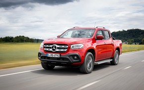 Picture red, Mercedes-Benz, highway, pickup, 2018, X-Class