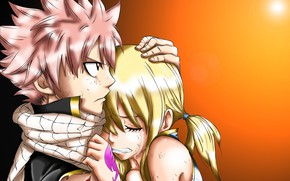 Picture hugs, two, tears, Fairy Tail, Natsu, Lucy, Fairy Tail