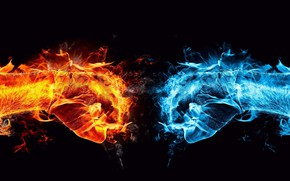 Picture ice, red, fire, blue, fire, red, clash, ice, fists, blue, black background, collision, black background, …