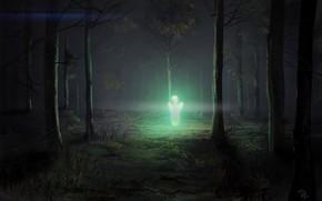 Picture Night, Figure, Forest, Light, Art, Art, Illustration, Aliens, Unknown, Denis Loebner, by Denis Loebner, Bioluminescent …