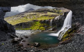 Picture waterfall, Landscape, Iceland