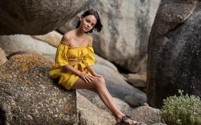 Picture look, stones, legs, sitting, shoulders, Ariel