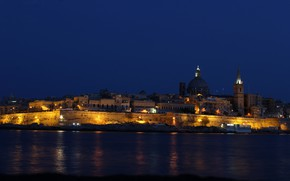 Picture sea, night, lights, coast, island, home, the state, Malta, Valletta