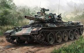 Wallpaper Mitsubishi, Type 74, Mitsubishi Heavy Industries, Japanese main battle tank of the 1970-ies