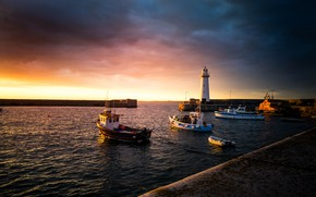 Wallpaper sea, the sky, the sun, clouds, sunset, coast, lighthouse, boats, pier, UK, boats, harbour, Northern ...