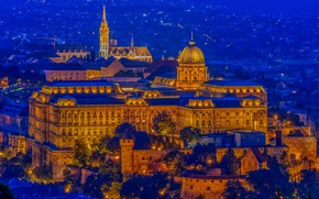 Picture castle, fortress, night city, Hungary, Hungary, Budapest, Budapest, Buda Castle, Buda castle, Buda Castle