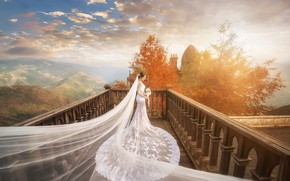 Picture autumn, girl, light, trees, landscape, nature, pose, castle, white, view, height, bouquet, dress, balcony, Asian, …