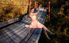 Picture bridge, Girl, dress, sitting, Sergei Timashev, Natasha Sinkevich