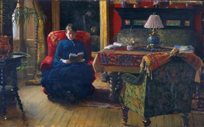 Picture Chair, Picture, Woman, Reads, In the living room, Paul Gustav Fischer, Paul Gustav Fischer, Датский …