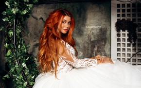 Picture look, model, portrait, makeup, dress, hairstyle, red, the bride, in white, Dana Bounty, Svetlana Nikonova