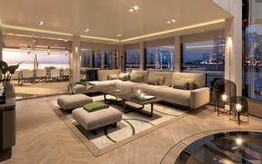 Picture interior, yacht, salon, dining room, Superyacht, Vripack Interior Yacht Design, пабуюа