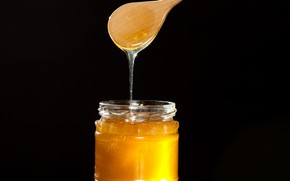 Picture yellow, food, black background, open, Honey, tasty, sticky, Jar, liquid gold, lit up, wood spoon