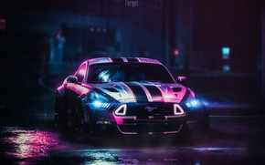 Picture Mustang, Ford, Car, NFS, Need for Speed, Night, Ford Mustang RTR, Transport & Vehicles, Oleg …