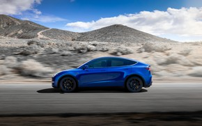 Picture machine, the sky, movement, hills, Tesla, Model Y