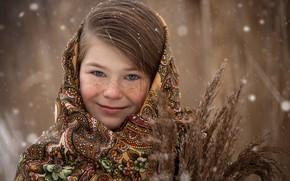 Picture smile, girl, freckles, Russian beauty, Perventseva Elena