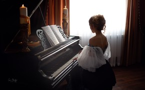 Picture girl, notes, back, candles, piano, Anna Shuvalova