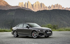 Picture Audi, sedan, Audi A4, 2019, mountains in the background