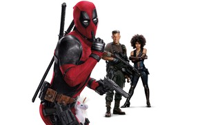 Picture white background, characters, Deadpool 2, Deadpool