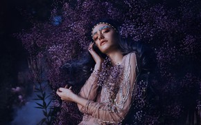 Picture look, girl, flowers, pose, style, hands, makeup, dress, blue hair