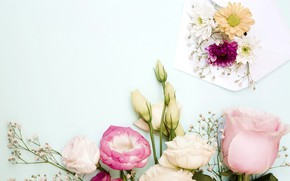 Picture flowers, roses, bouquet, pink, flowers, roses, eustoma, eustoma