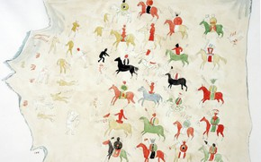 Picture 1843, Indian painted buffalo skin, C.H.S Watercolors