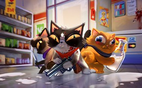 Picture Figure, Cats, Art, Cat, Cats, The bandits, Characters, by Guilherme Freitas, Guilherme Freitas, Kitty Robbery