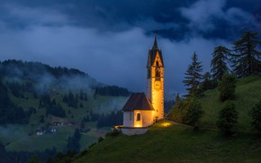 Picture landscape, mountains, night, nature, village, Italy, Church, The Dolomites, St. Barbara Church