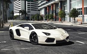 Picture Auto, The city, Lamborghini, White, Machine, Car, Aventador, Rendering, Supercar, Sportcar, Lamborghini Aventador LP 700-4, …