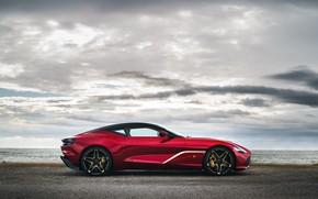 Picture red, Aston Martin, coupe, in profile, Zagato, 2020, V12 Twin-Turbo, DBS GT Zagato, 760 HP