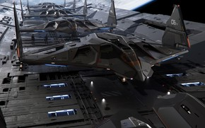 Picture The plane, Aircraft, Space, Art, A lot, Bomber, Game, Transport, Bomber, Star Citizen, Jet, Science …