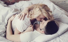 Picture girl, tattoo, hugs, blonde, pair, male, lovers