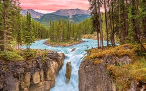 Picture mountains, river, waterfall, pink sky