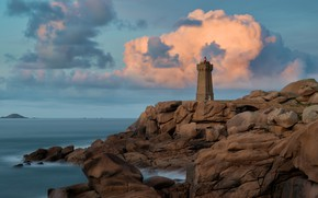 Picture sea, clouds, landscape, nature, rock, stones, France, lighthouse, reef, Brittany