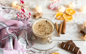 Picture coffee, chocolate, Cup, plaid, cappuccino, spices