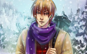 Picture winter, art, guy, koyasu