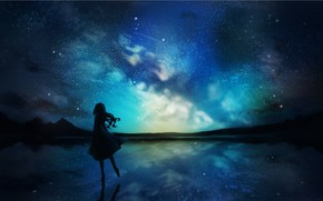 Picture the sky, water, girl, night, nature