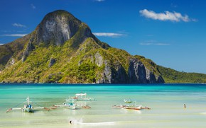 Picture beach, the ocean, boats, Laguna, Philippines, The Nest, Philippines, Palawan