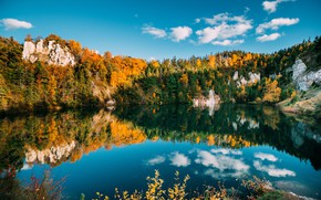 Picture autumn, forest, the sky, water, clouds, trees, lake, reflection, stones
