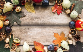 Picture autumn, leaves, apples, plum, bumps, pear, postcard, template