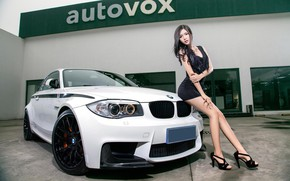Picture Girls, BMW, Asian, beautiful girl, white car, vhglyad, posing on the car