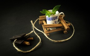 Picture chocolate, Cup, cinnamon, mint
